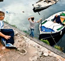 Szene an altem Fischerboot