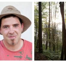 Junger Bauer und Waldlandschaft in den Alpen