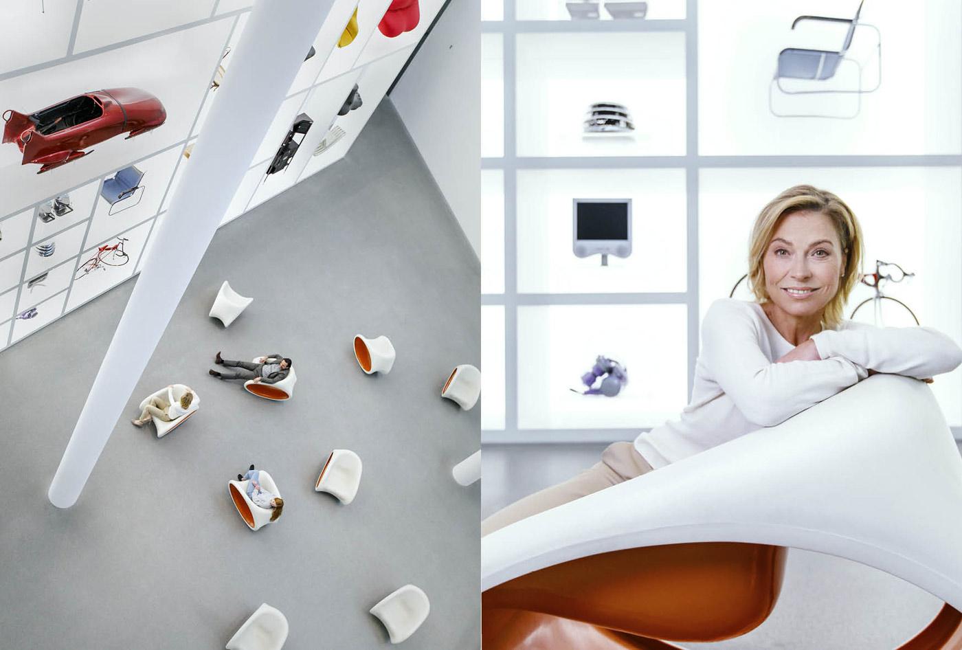 Frau in Design Ausstellung Pinakothek München