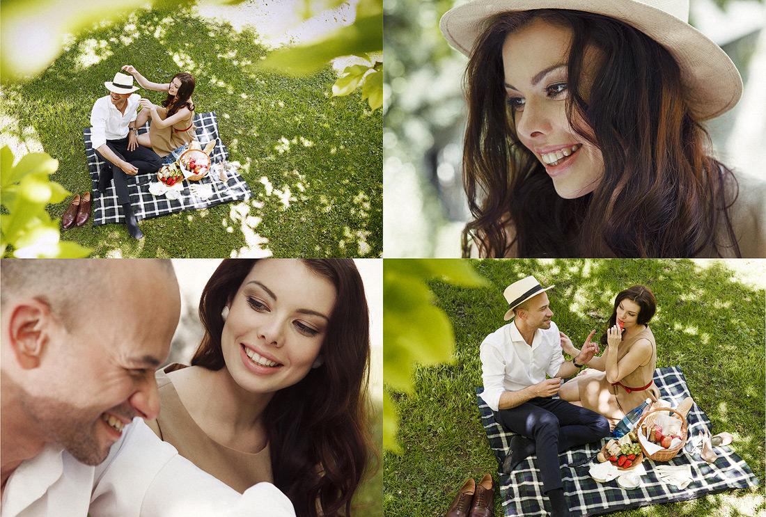 Picknickszenen eines eleganten Paares